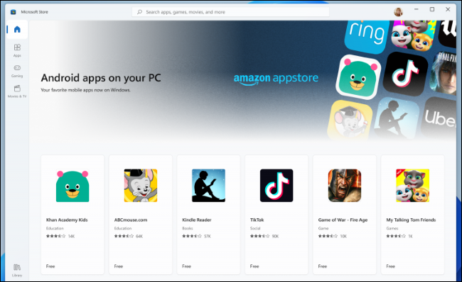Android apps from the Amazon Appstore in the Microsoft Store