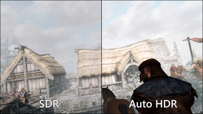 Comparing standard SDR vs. Auto HDR in Skyrim on a Windows 11 PC.