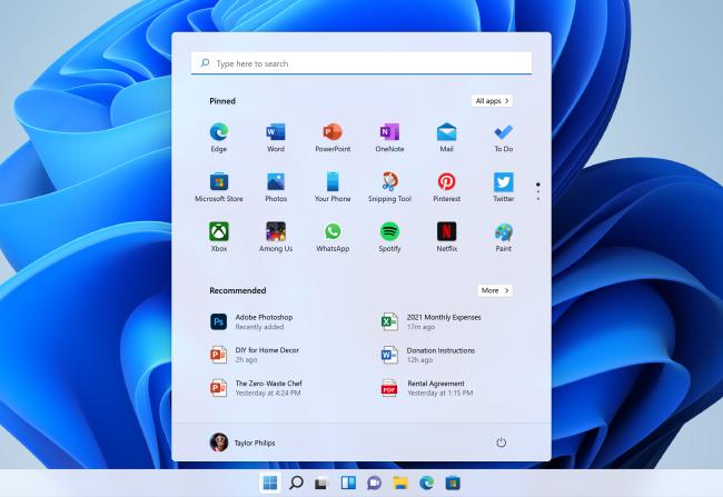 Windows 11's new Start menu.