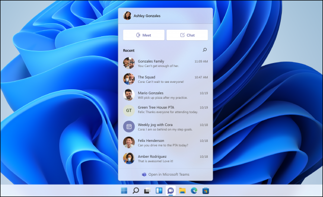 The Microsoft Teams Chat popup on Windows 11.